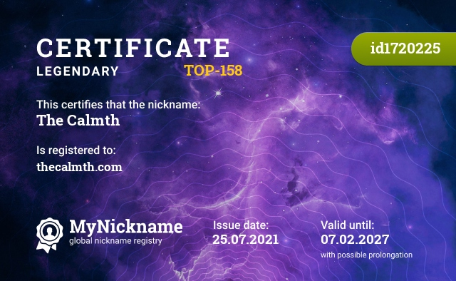 Certificate for nickname The Calmth is registered to: thecalmth.com