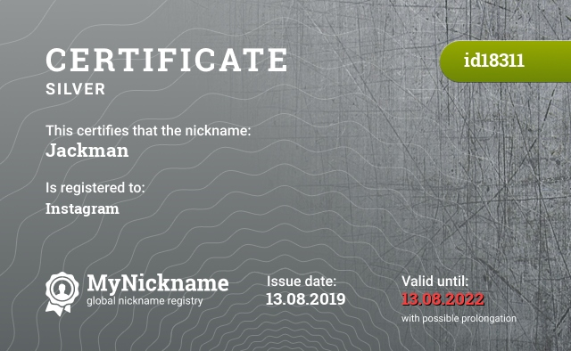 Certificate for nickname Jackman is registered to: Instagram