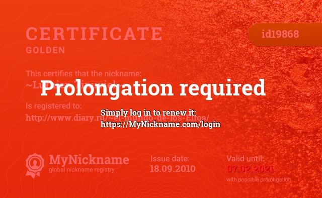 Certificate for nickname ~Luthien Tinuviel~ is registered to: http://www.diary.ru/~el-mundo-de-los-Elfos/