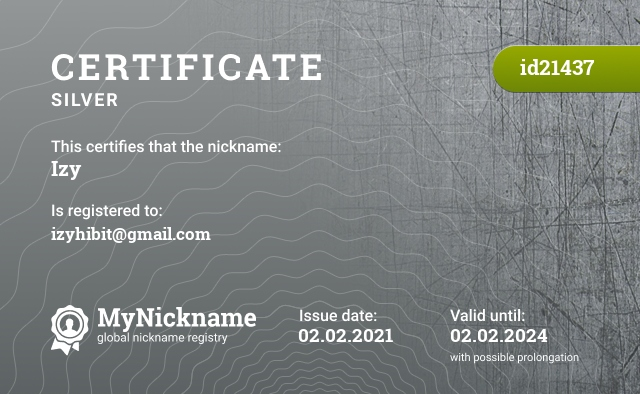 Certificate for nickname Izy is registered to: izyhibit@gmail.com