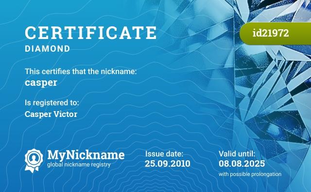 Certificate for nickname casper is registered to: Casper Victor
