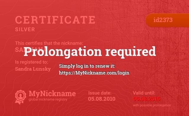 Certificate for nickname SADRIANA is registered to: Sandra Lunsky