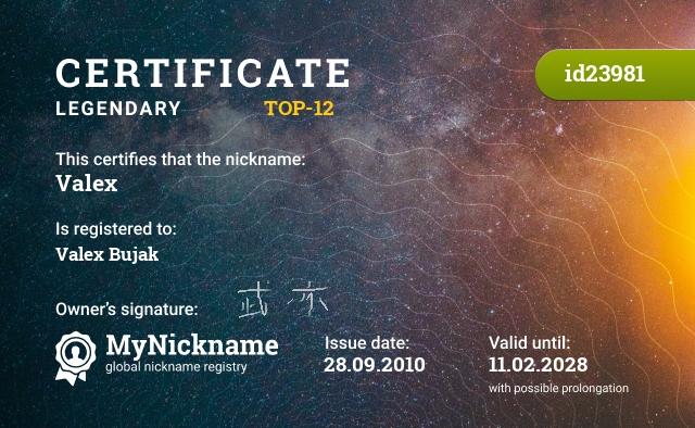 Certificate for nickname Valex is registered to: Valeks Buyak