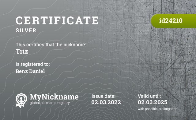 Certificate for nickname Triz is registered to: Максима Ваймана Павловича