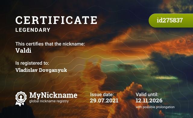 Certificate for nickname Valdi, is registered to: Vladislav Dovganyuk