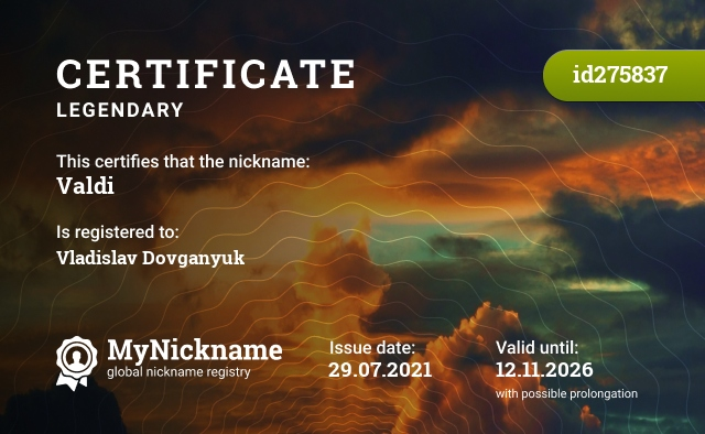 Certificate for nickname Valdi is registered to: Vladislav Dovganyuk