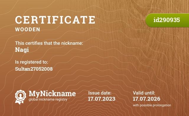 Certificate for nickname Nagi is registered to: Nagi Irrhein