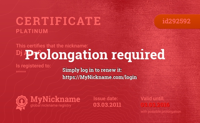 Certificate for nickname Dj Alex$ is registered to: ''''''''