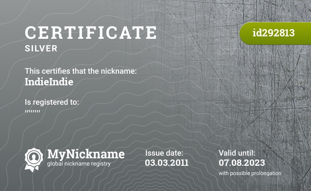 Certificate for nickname IndieIndie is registered to: ''''''''