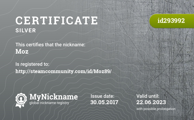 Certificate for nickname Moz is registered to: http://steamcommunity.com/id/Moz89/