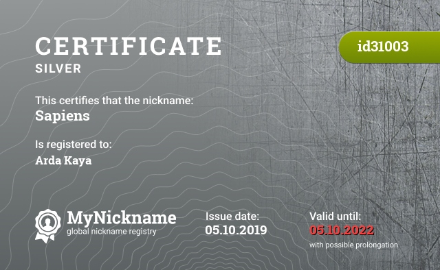 Certificate for nickname Sapiens is registered to: Arda Kaya