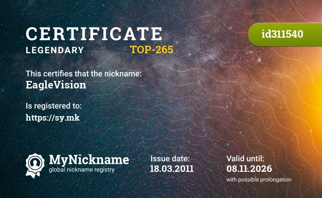 Certificate for nickname EagleVision is registered to: http://musiyenko.com