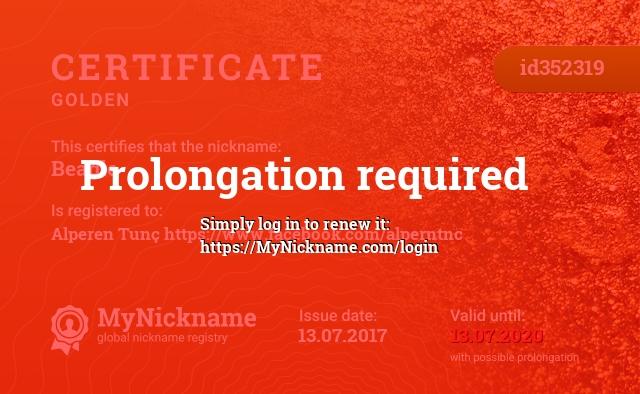 Сертификат на никнейм Beagle, зарегистрирован на Alperen Tunç https://www.facebook.com/alperntnc