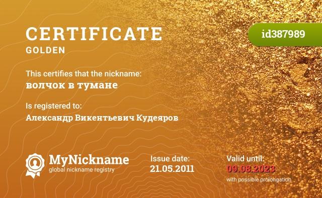Certificate for nickname волчок в тумане is registered to: Александр Викентьевич Кудеяров
