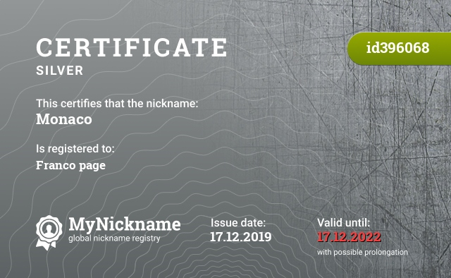 Certificate for nickname Monaco is registered to: Franco page
