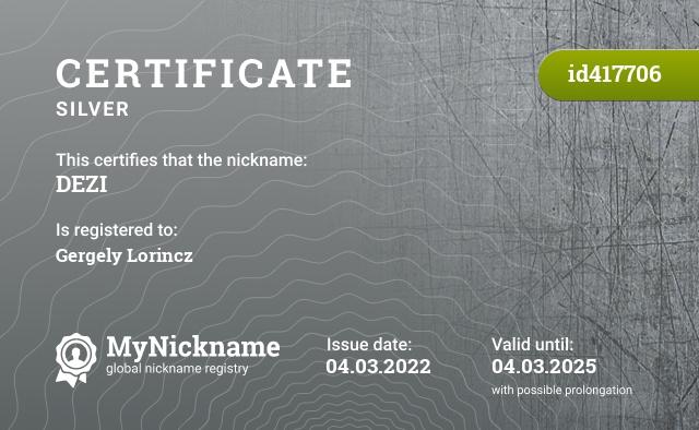 Certificate for nickname DEZI is registered to: Каширин Максим Сергеевич