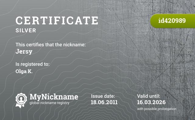 Certificate for nickname Jersy is registered to: Olga K.