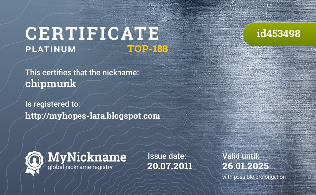 Certificate for nickname chipmunk is registered to: http://myhopes-lara.blogspot.com