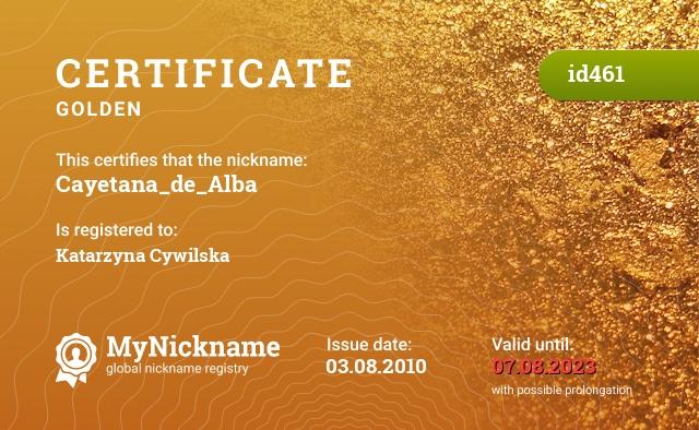 Certificate for nickname Cayetana_de_Alba is registered to: Katarzyna Cywilska