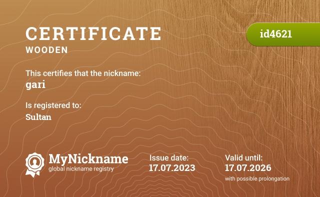 Certificate for nickname gari is registered to: Владислав Михайлов