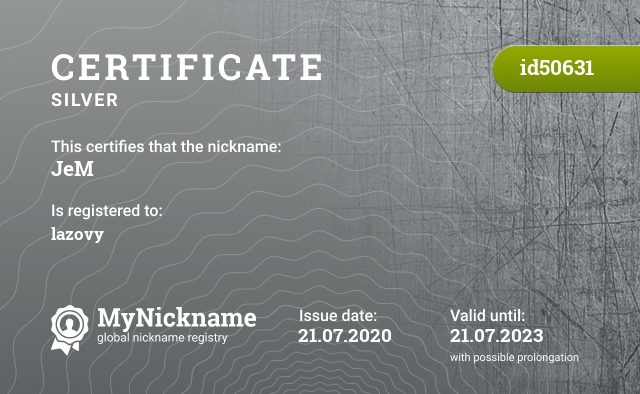 Certificate for nickname JeM is registered to: lazovy