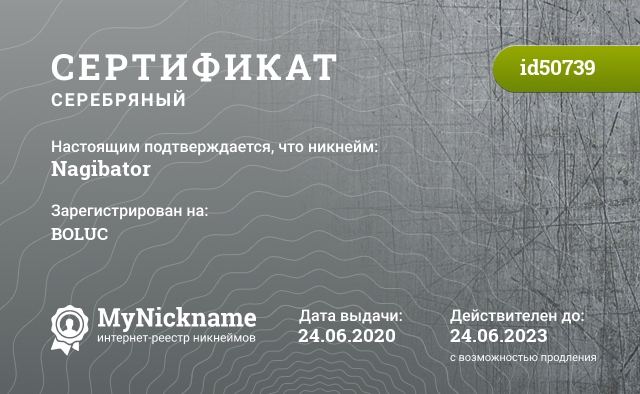 Сертификат на никнейм Nagibator, зарегистрирован на BOLUC