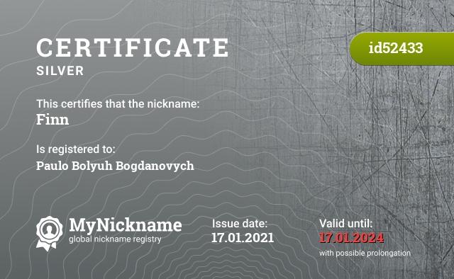 Certificate for nickname Finn is registered to: Paulo Bolyuh Bogdanovych
