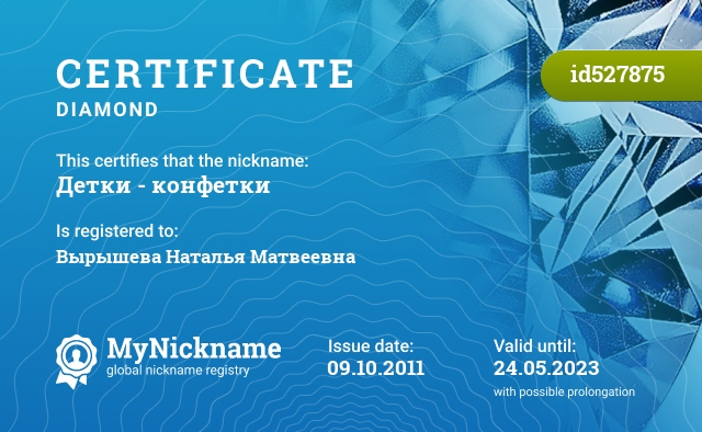 Certificate for nickname Детки - конфетки is registered to: Вырышева Наталья Матвеевна