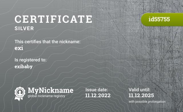 Certificate for nickname Exi is registered to: Lukáš Janík
