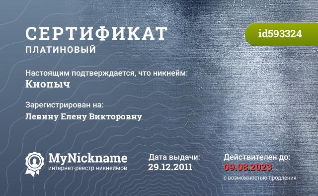 Сертификат на никнейм Кнопыч, зарегистрирован на Левину Елену Викторовну