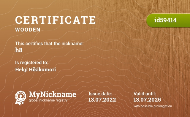 Certificate for nickname h8 is registered to: http://steamcommunity.com/id/h8ened