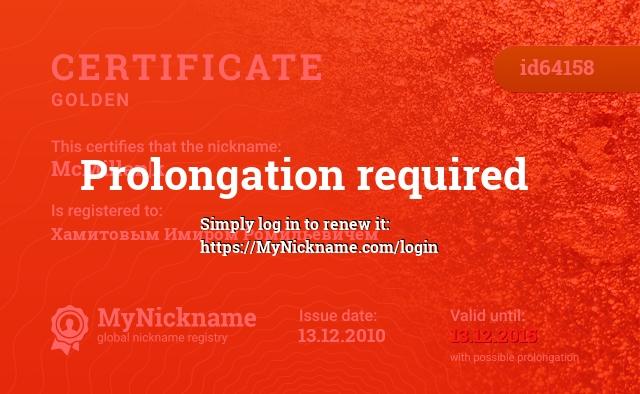 Certificate for nickname McMillan k is registered to: Хамитовым Имиром Ромильевичем