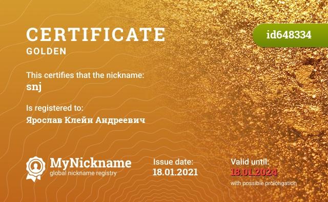 Certificate for nickname snj is registered to: Ярослав Клейн Андреевич