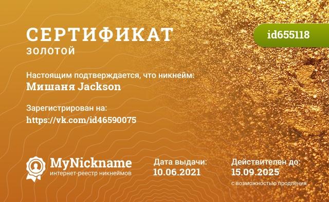 Сертификат на никнейм Мишаня Jackson, зарегистрирован на Седнина Ивана Викторовича