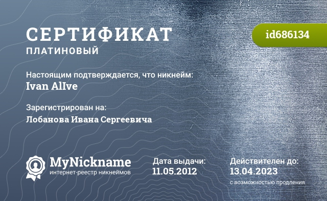 Сертификат на никнейм Ivan AlIve, зарегистрирован на Лобанова Ивана Сергеевича