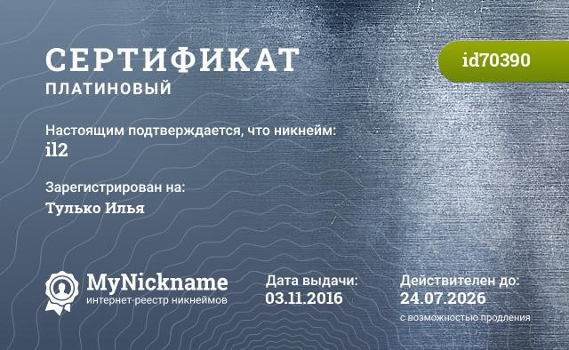 Сертификат на никнейм il2, зарегистрирован на Тулько Илья