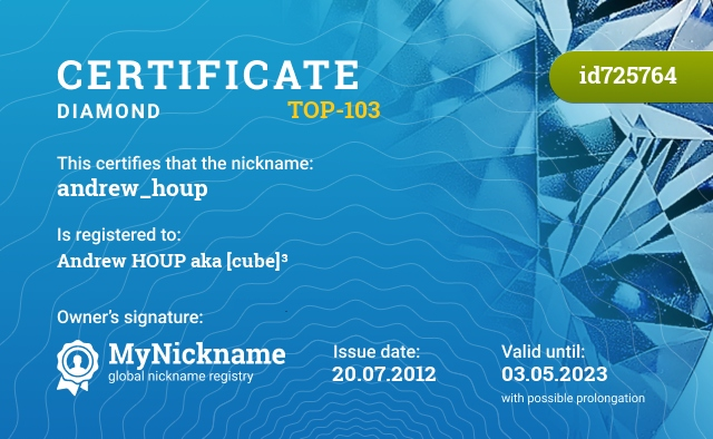 Certificate for nickname andrew_houp is registered to: Andrew HOUP aka [cube]³