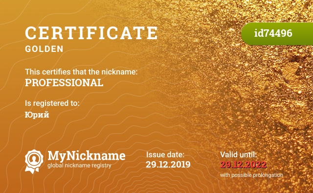 Certificate for nickname PROFESSIONAL is registered to: Юрий