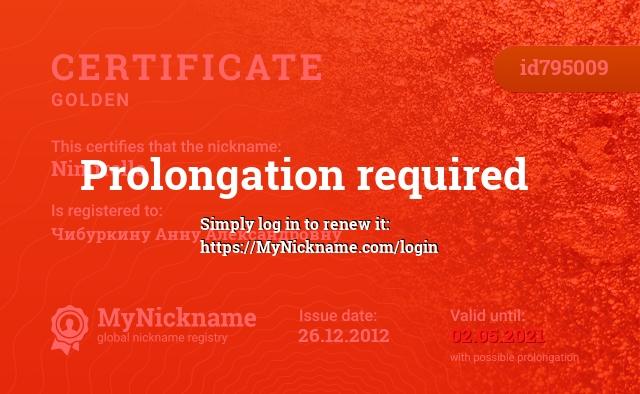 Certificate for nickname Nimirelle is registered to: Чибуркину Анну Александровну
