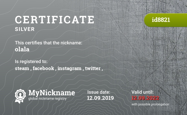 Certificate for nickname olala is registered to: steam , facebook , instagram , twitter ,