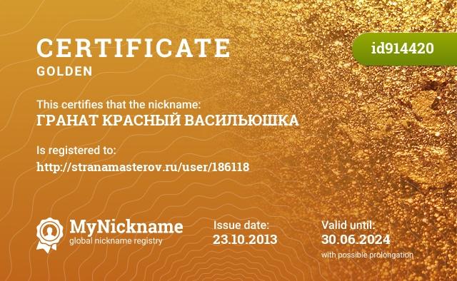 Certificate for nickname ГРАНАТ КРАСНЫЙ  ВАСИЛЬЮШКА is registered to: http://stranamasterov.ru/user/186118