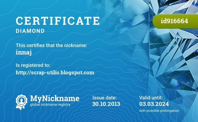 Certificate for nickname innaj is registered to: http://scrap-utilis.blogspot.com
