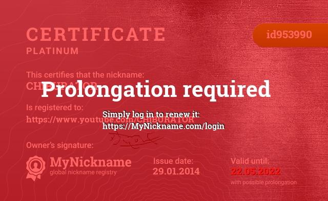 Сертификат на никнейм CHiBURATOR, зарегистрирован на https://www.youtube.com/CHiBURATOR