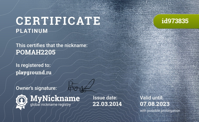 Certificate for nickname POMAH2205 is registered to: playground.ru
